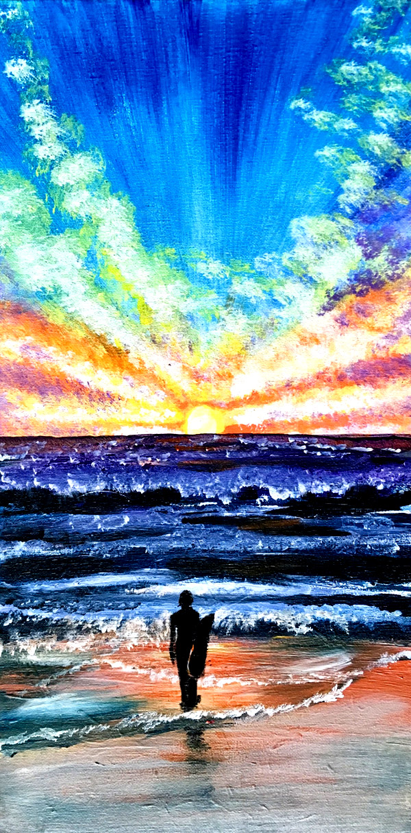 Winter Surf on 10x20 canvas with Erin