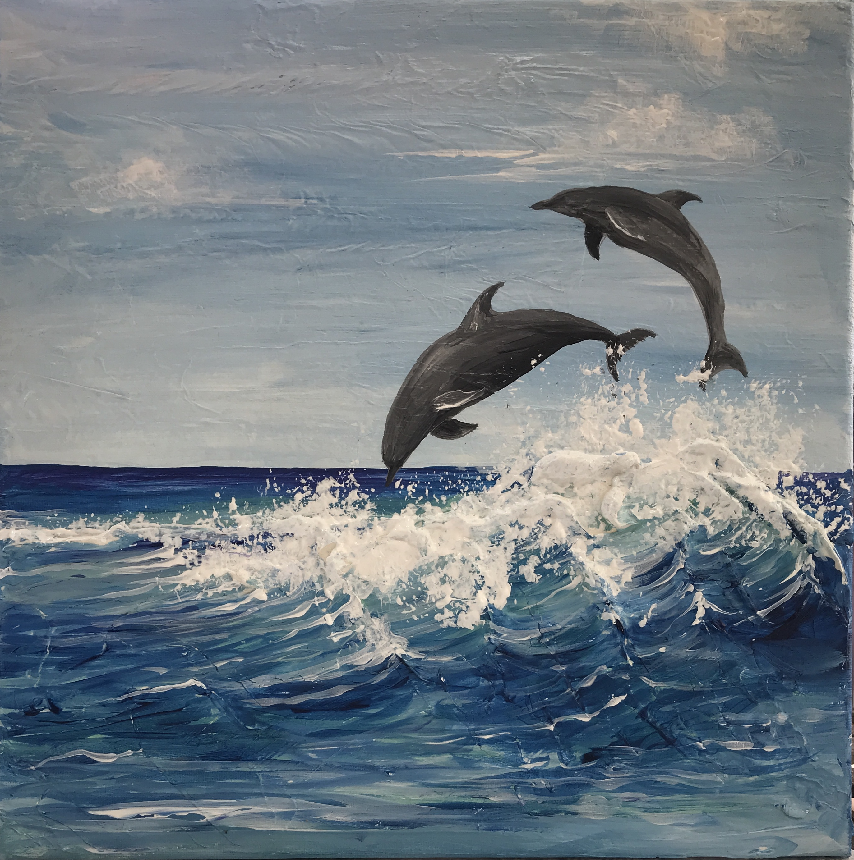 Dolphin Fun - Mixed Media