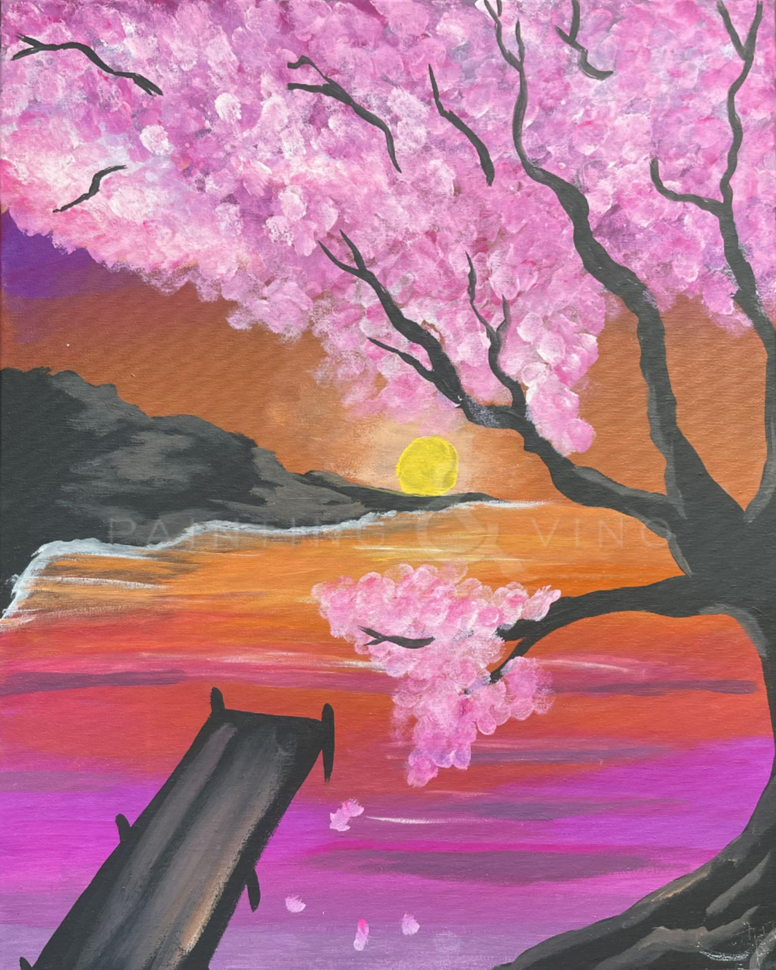 Paint and sip! Sakura Sunrise