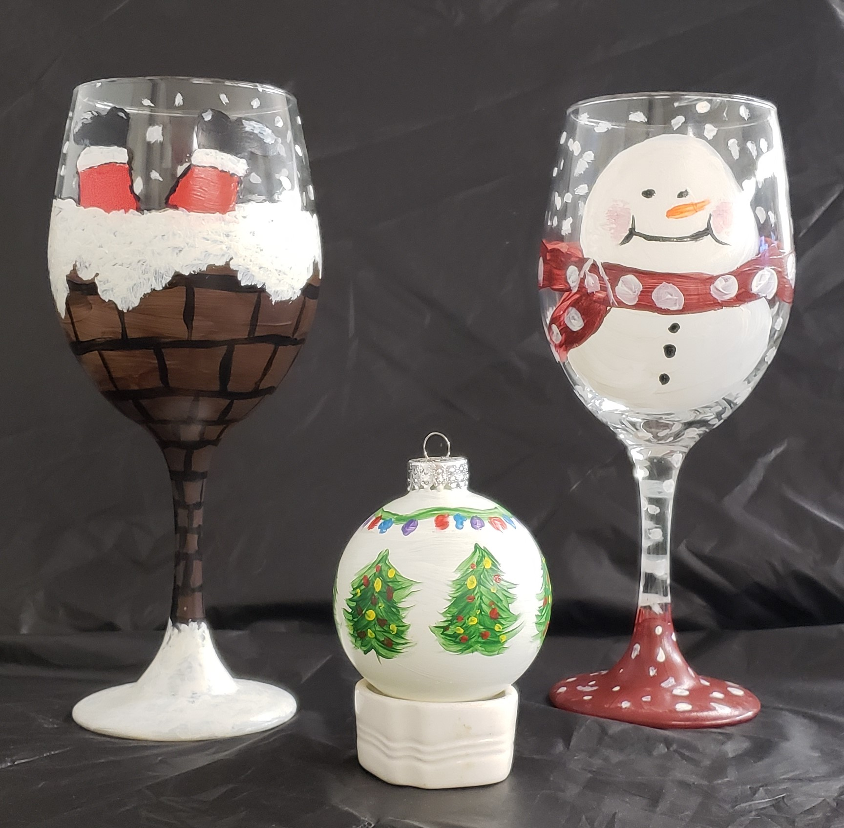 Holiday Wine Glasses or Ornaments