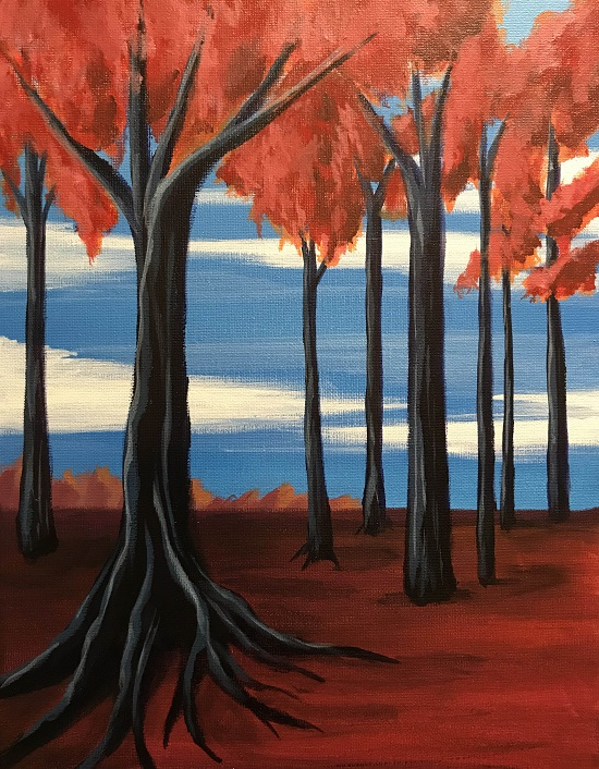 Painting & Brews - 'Red Trees'