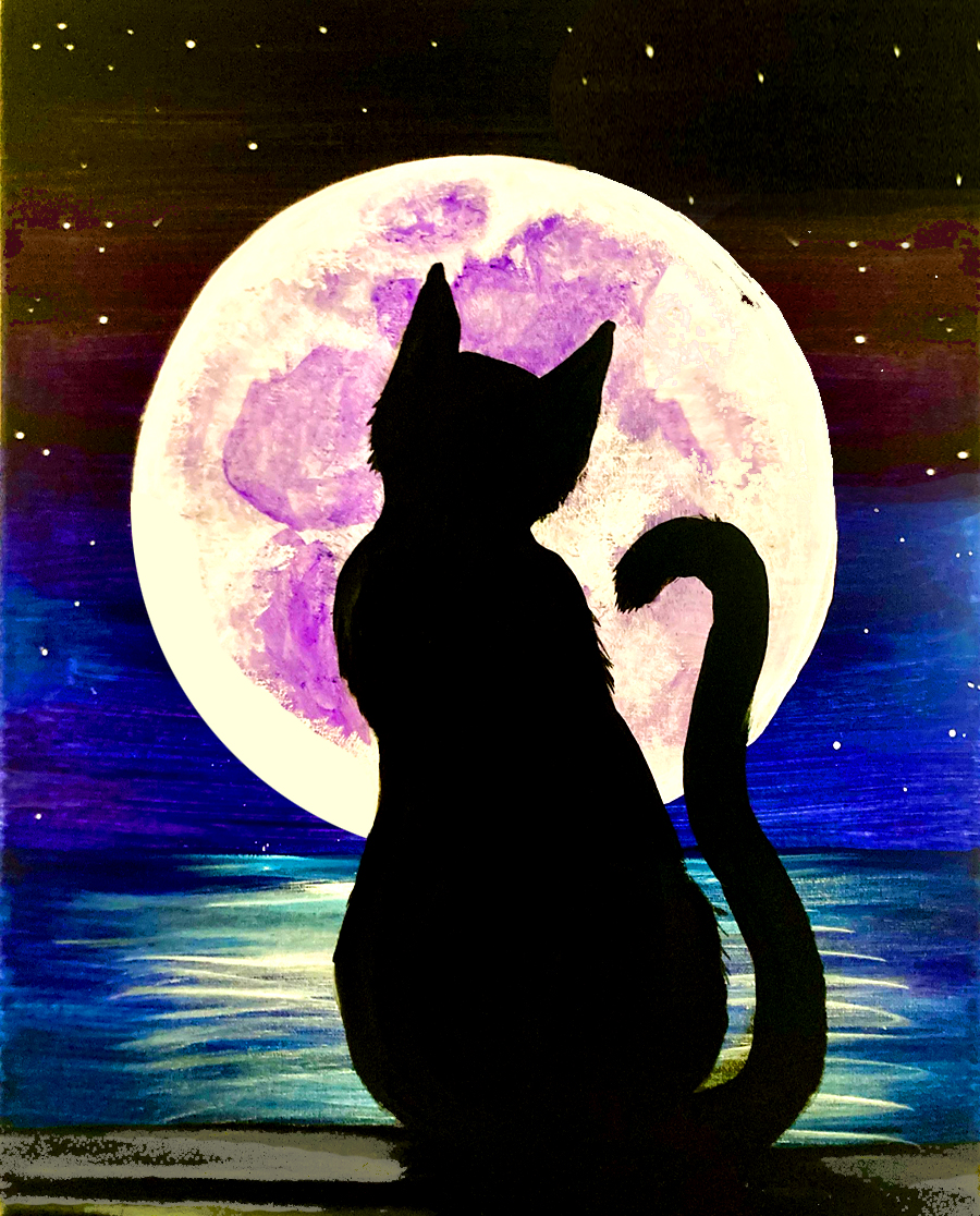 Black Cat Harvest Moon with Erin