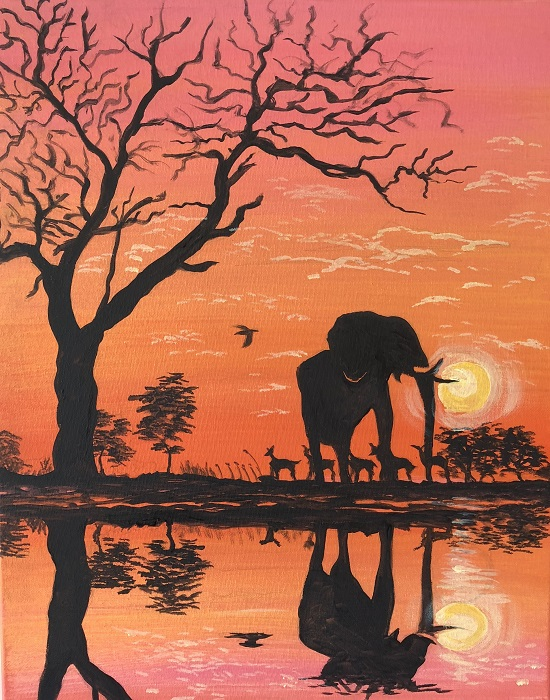 Painting & Brews - 'Elephant in Reflection'