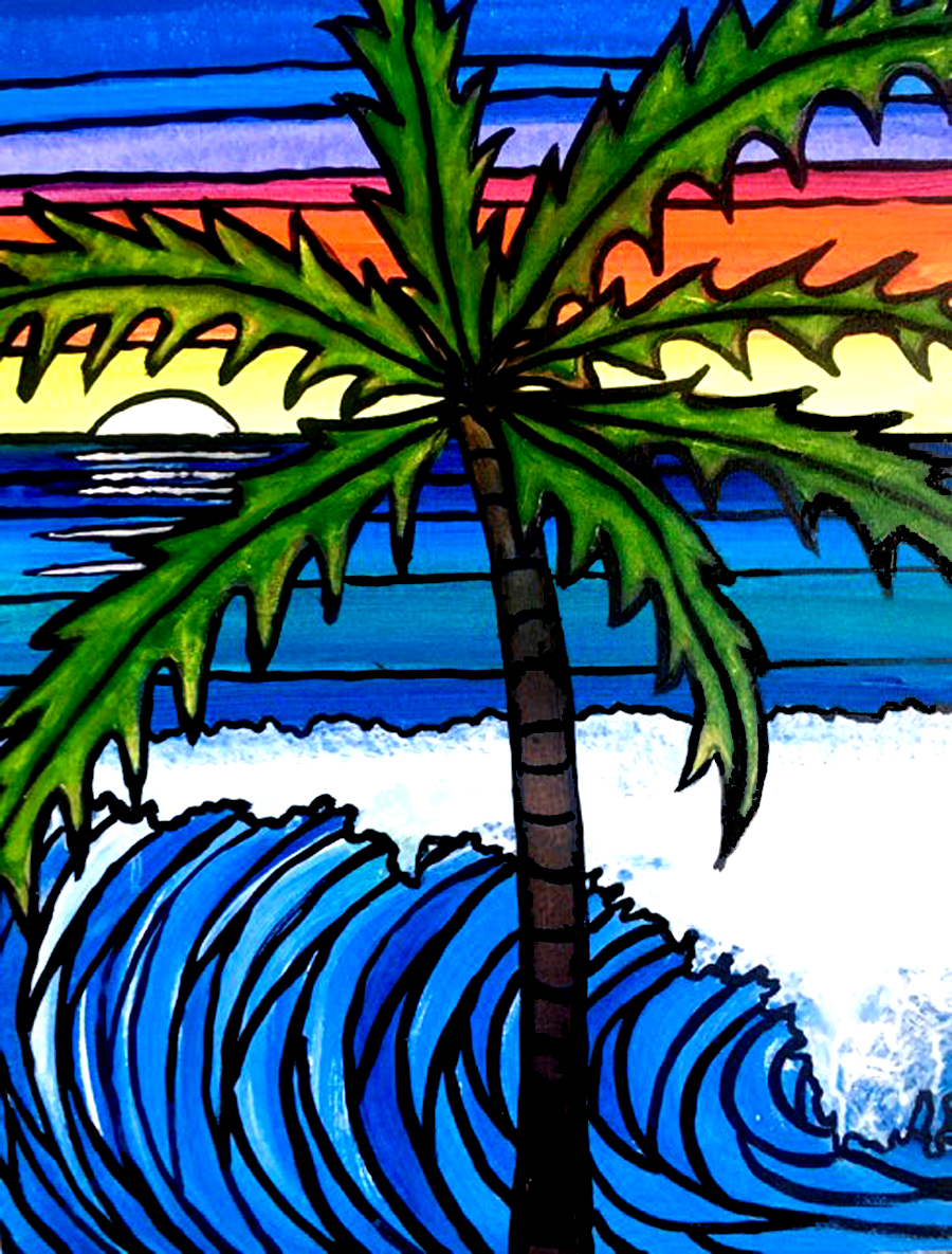Stained Glass Palm Painting