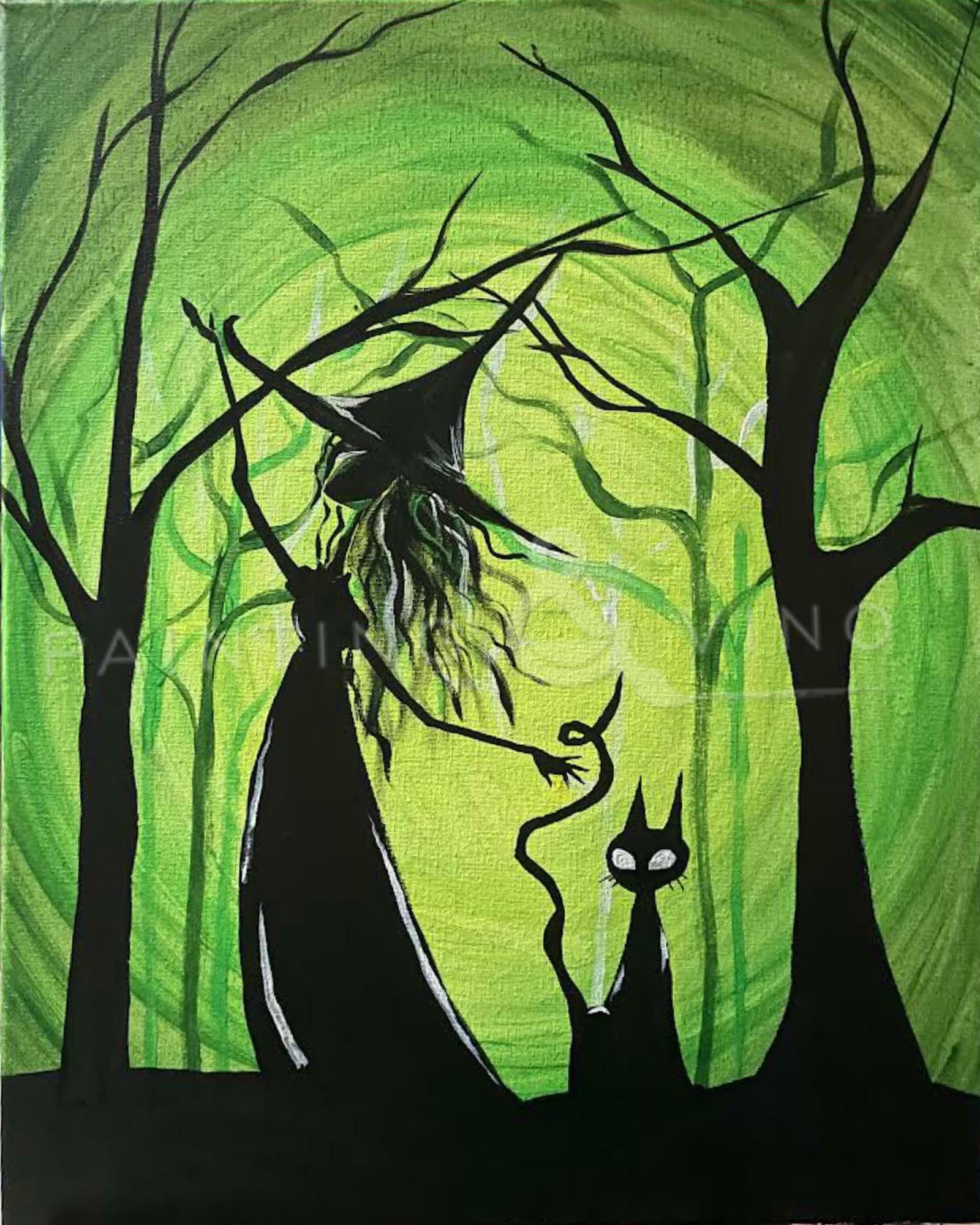 Green Forest Witch - Paint and Sip Spooktacular!