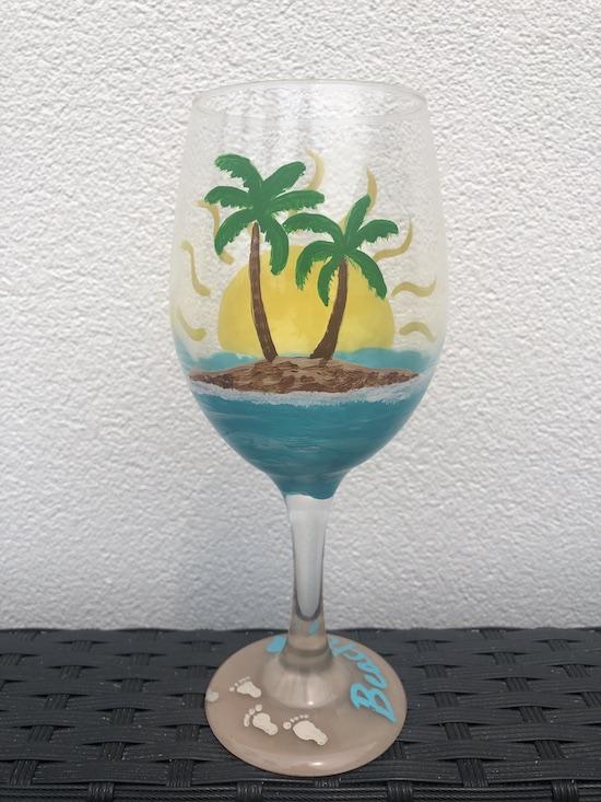 Beach Love Glass Painting