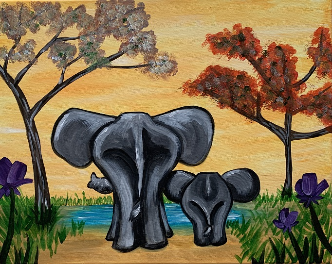 'Elephants at the Watering Hole'