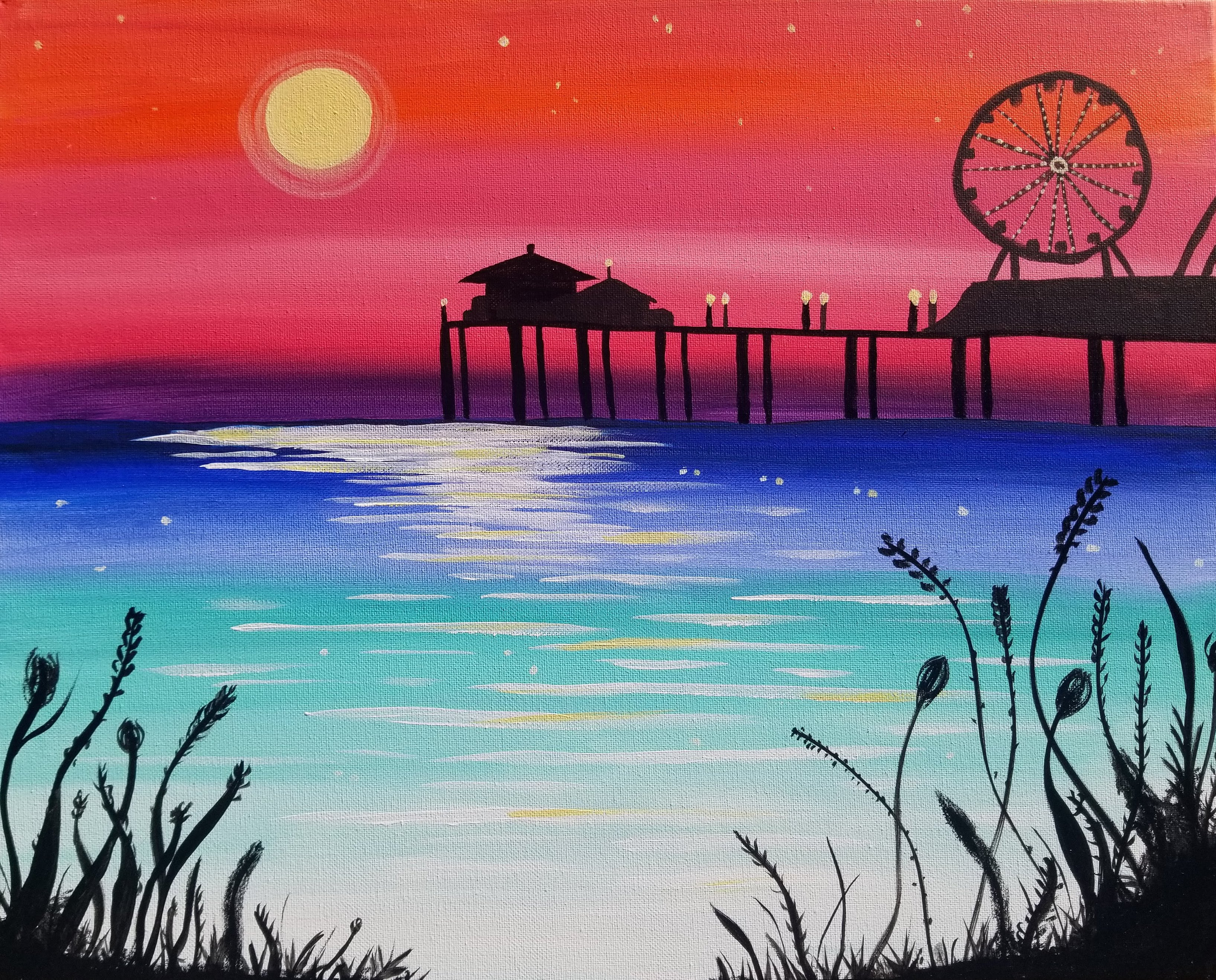 Painting & Brews - 'Moon Over Pier'
