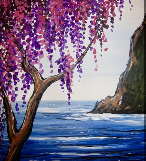 Painting and Brews -  'Lavender Seascape'