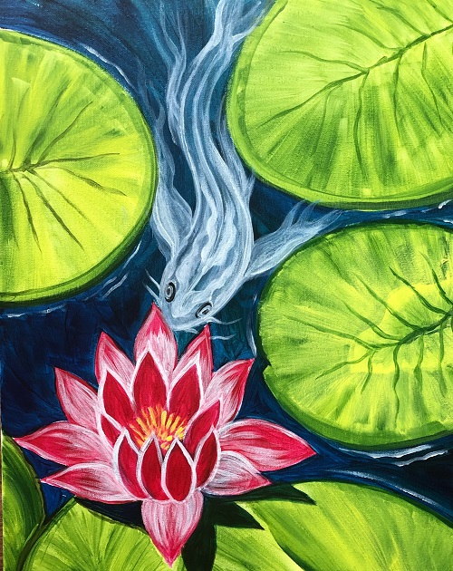 'Water Lily and Koi'