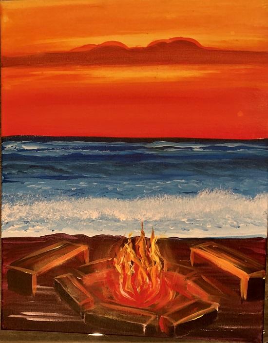 Orange Sunset with Fire