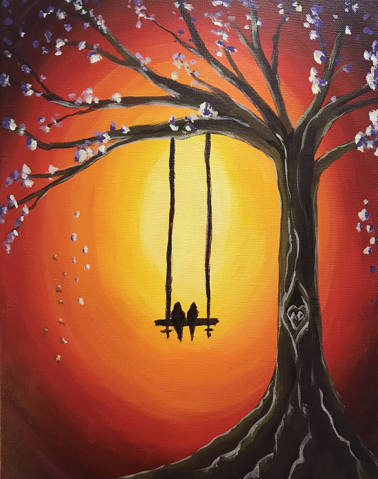 'Lovebirds on a Swing'