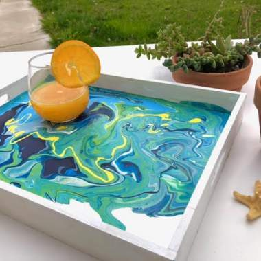 'Abstract Pour' on Wood Tray