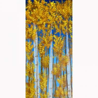 Aspens on 10x20in Canvas with Erin