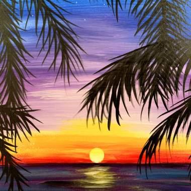 Purple sky Palms with Erin