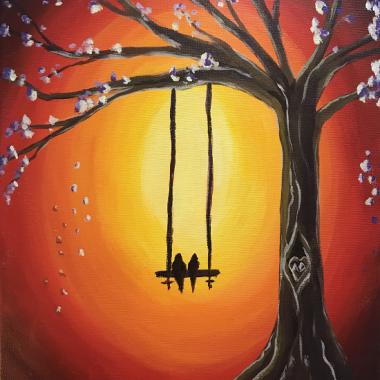 'Love Birds on a Swing'