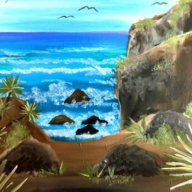 Beach cliffs with Erin