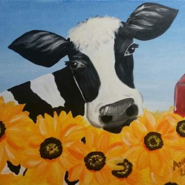 Cow and Sunflower