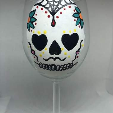 'Day of the Dead Skull Wine Glass' - Live Online Event