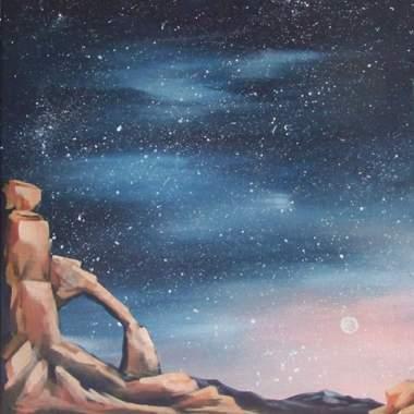 'Night Sky Over The Rocks'